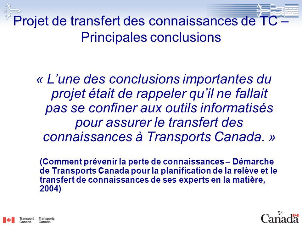 Projet de transfert des connaissances de TC – Principales conclusions