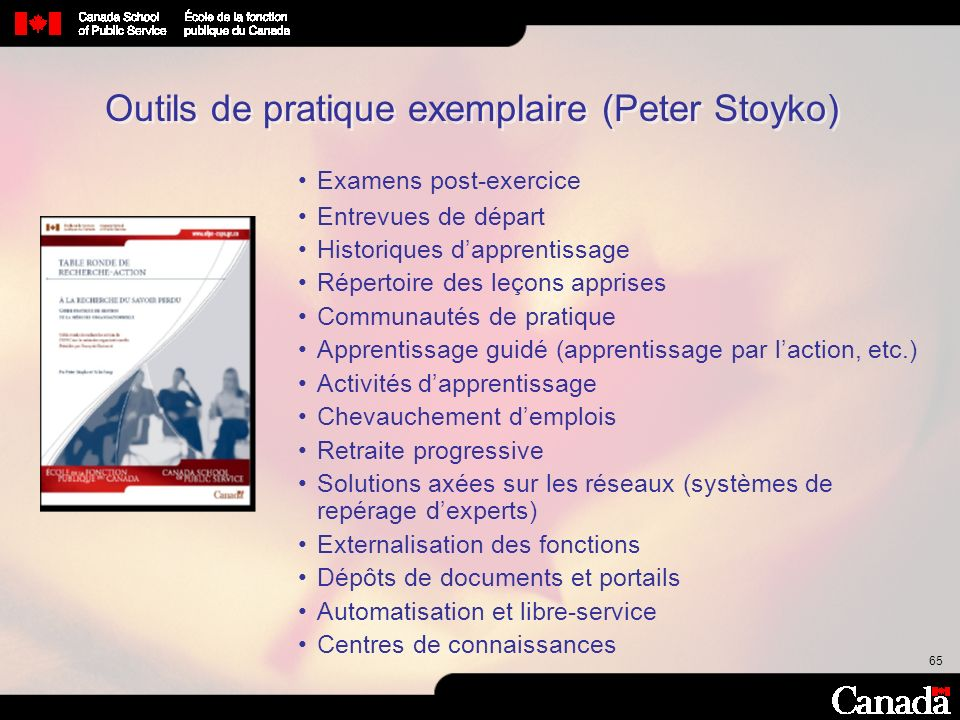 Outils de pratique exemplaire (Peter Stoyko)
