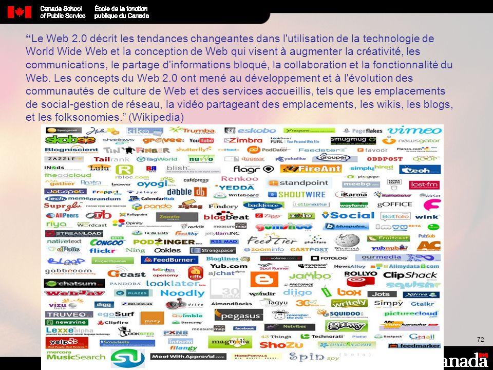 Le Web 2.0 décrit les tendances changeantes dans l utilisation de la technologie de World Wide Web et la conception de Web qui visent à augmenter la créativité, les communications, le partage d informations bloqué, la collaboration et la fonctionnalité du Web.
