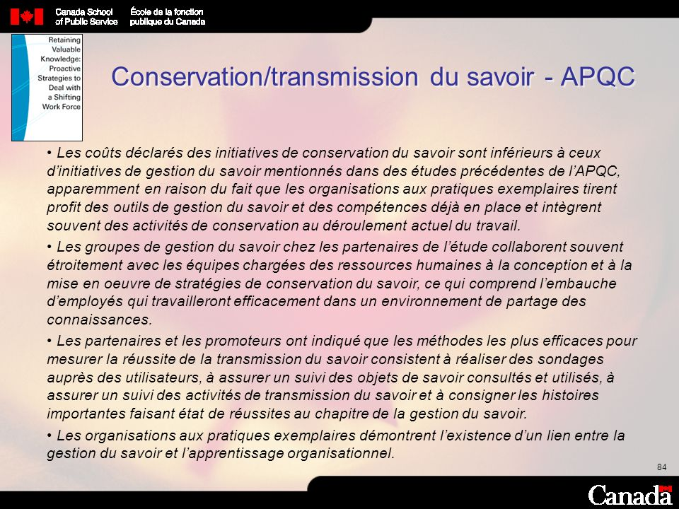 Conservation/transmission du savoir - APQC