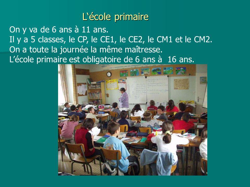 L'école primaire On y va de 6 ans à 11 ans.