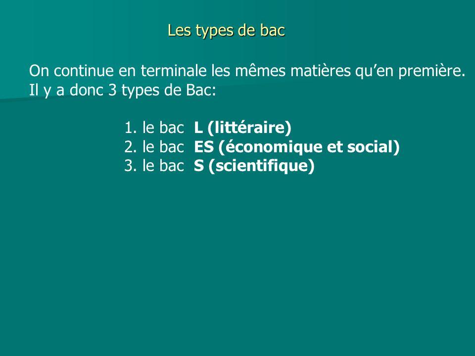 Les types de bac On continue en terminale les mêmes matières qu'en première. Il y a donc 3 types de Bac: