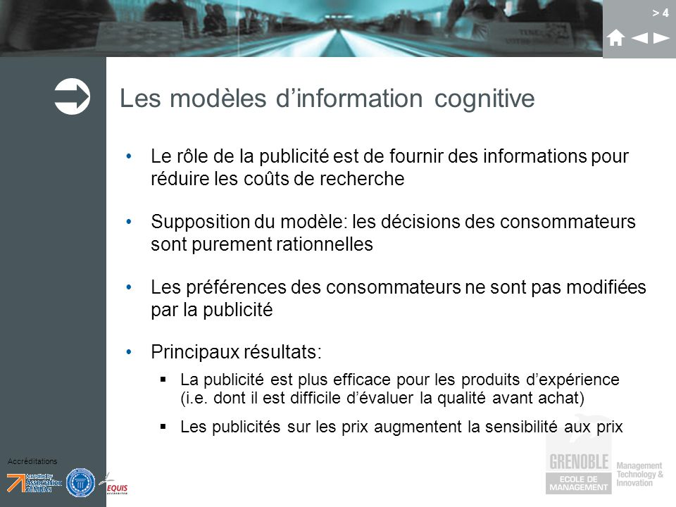 Les modèles d'information cognitive