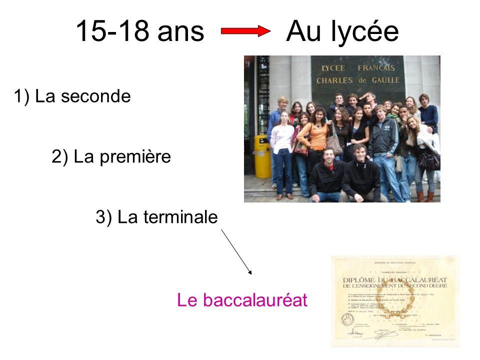 15-18 ans Au lycée 1) La seconde 2) La première 3) La terminale