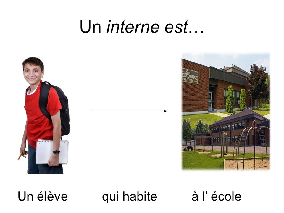 Un interne est… Un élève qui habite à l' école