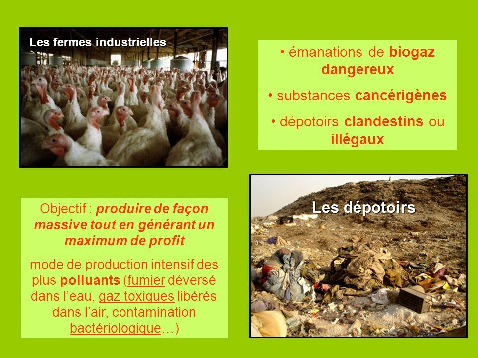Les dépotoirs émanations de biogaz dangereux substances cancérigènes