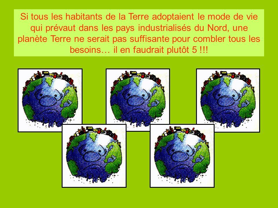 Si tous les habitants de la Terre adoptaient le mode de vie qui prévaut dans les pays industrialisés du Nord, une planète Terre ne serait pas suffisante pour combler tous les besoins… il en faudrait plutôt 5 !!!