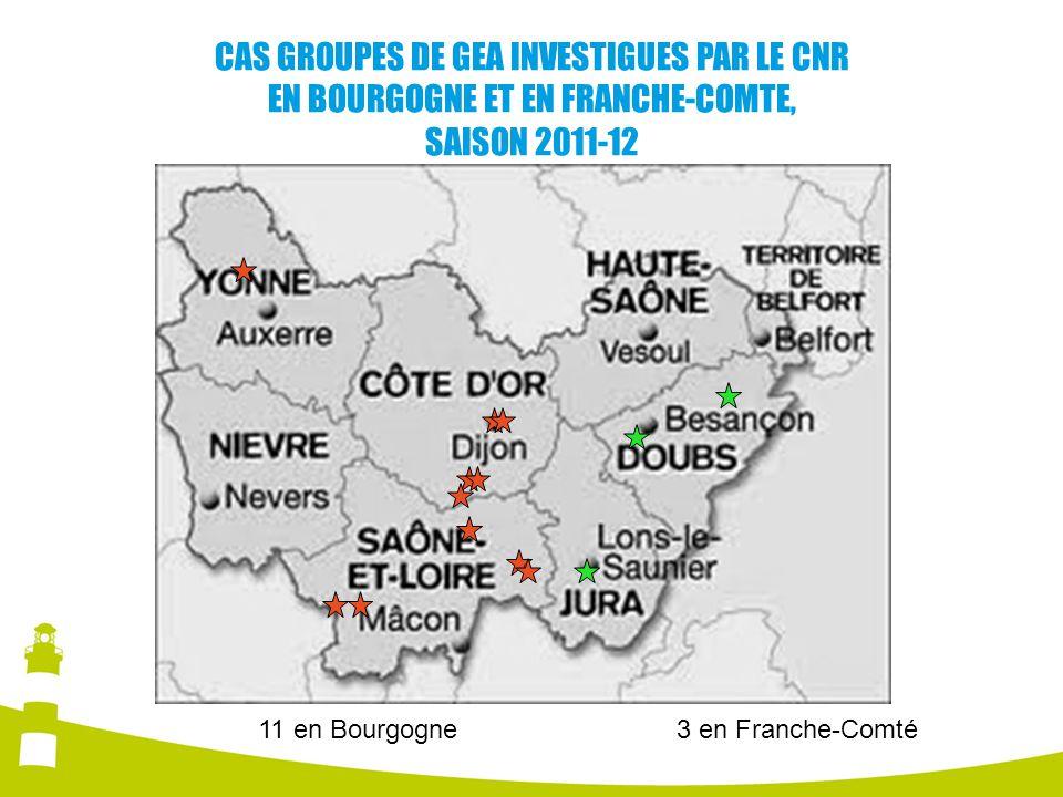 CAS GROUPES DE GEA INVESTIGUES PAR LE CNR EN BOURGOGNE ET EN FRANCHE-COMTE, SAISON 2011-12