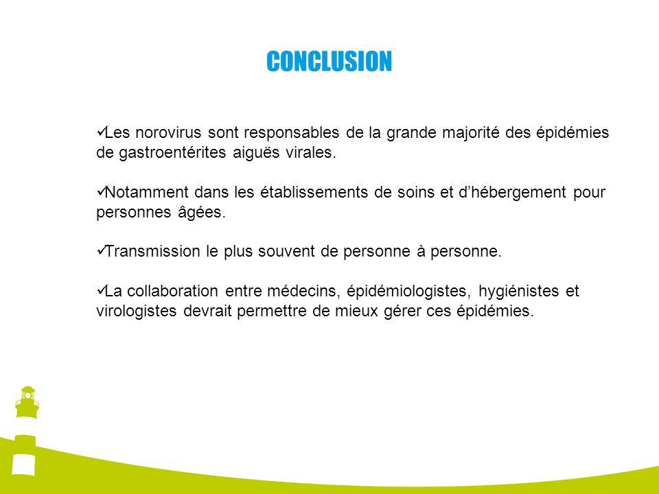 CONCLUSION Les norovirus sont responsables de la grande majorité des épidémies de gastroentérites aiguës virales.