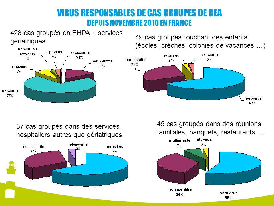 VIRUS RESPONSABLES DE CAS GROUPES DE GEA DEPUIS NOVEMBRE 2010 EN FRANCE
