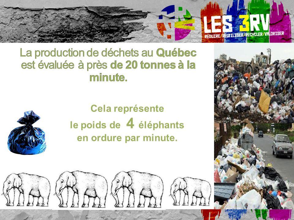 Cela représente le poids de 4 éléphants. en ordure par minute.