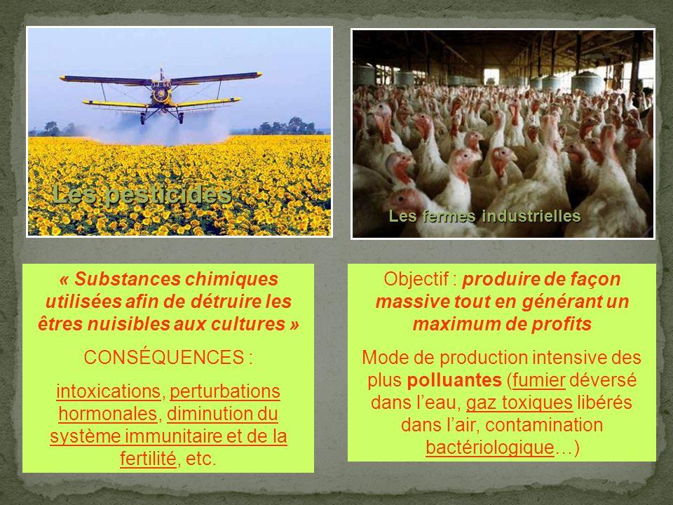 Les pesticides Les fermes industrielles. Sur l'environnement…