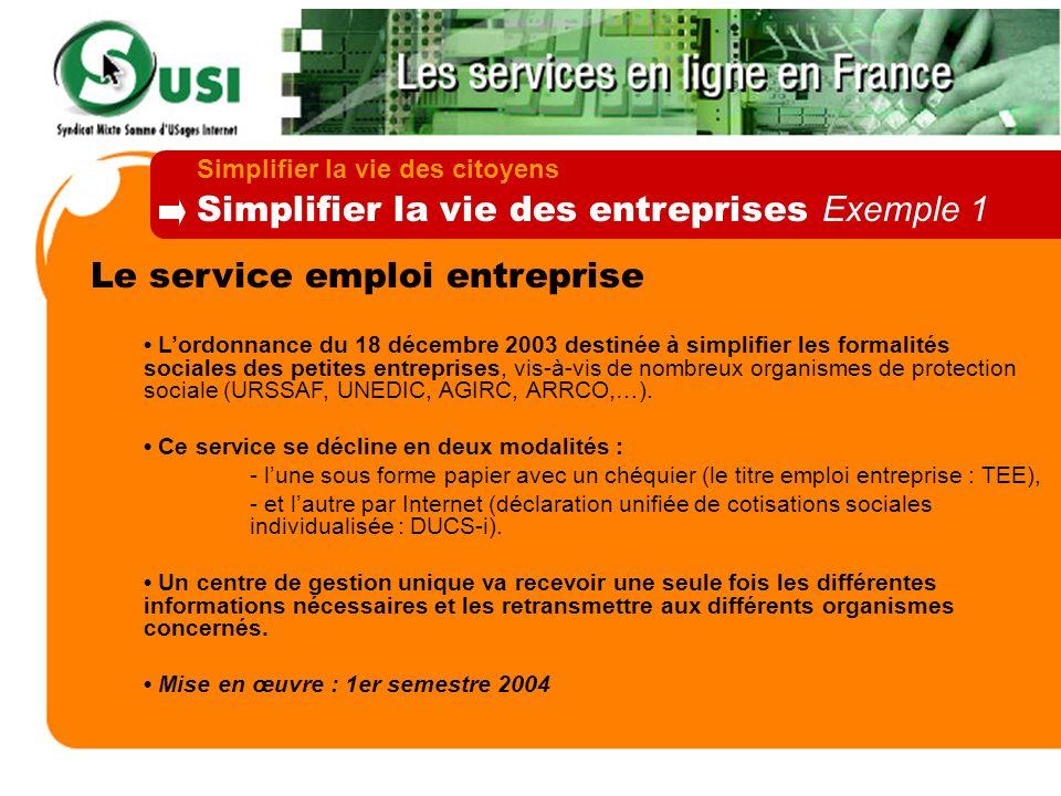 Simplifier la vie des entreprises Exemple 1