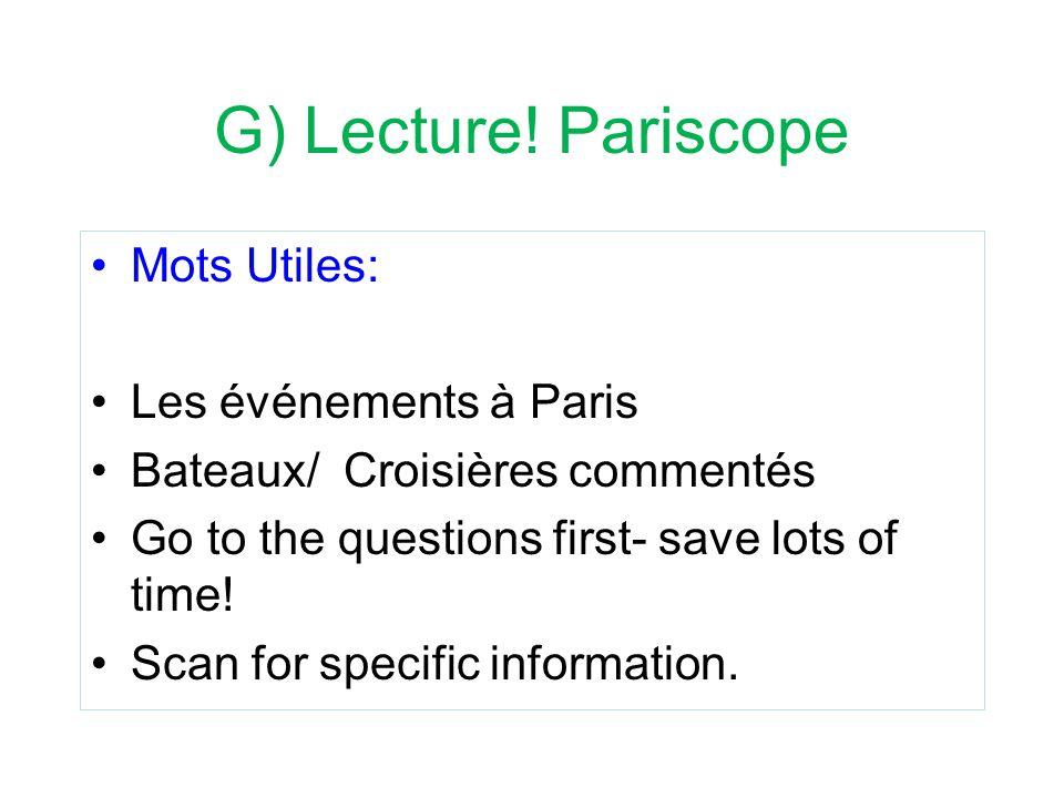 G) Lecture! Pariscope Mots Utiles: Les événements à Paris
