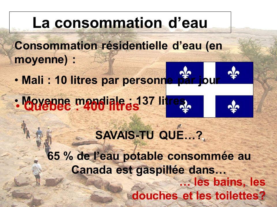 65 % de l'eau potable consommée au Canada est gaspillée dans…
