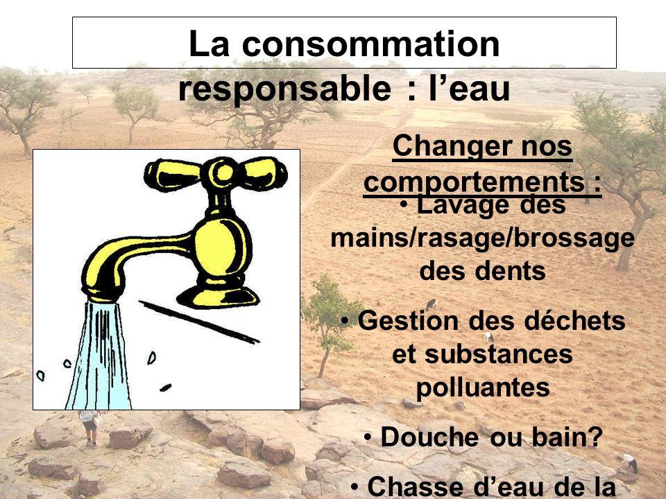 La consommation responsable : l'eau