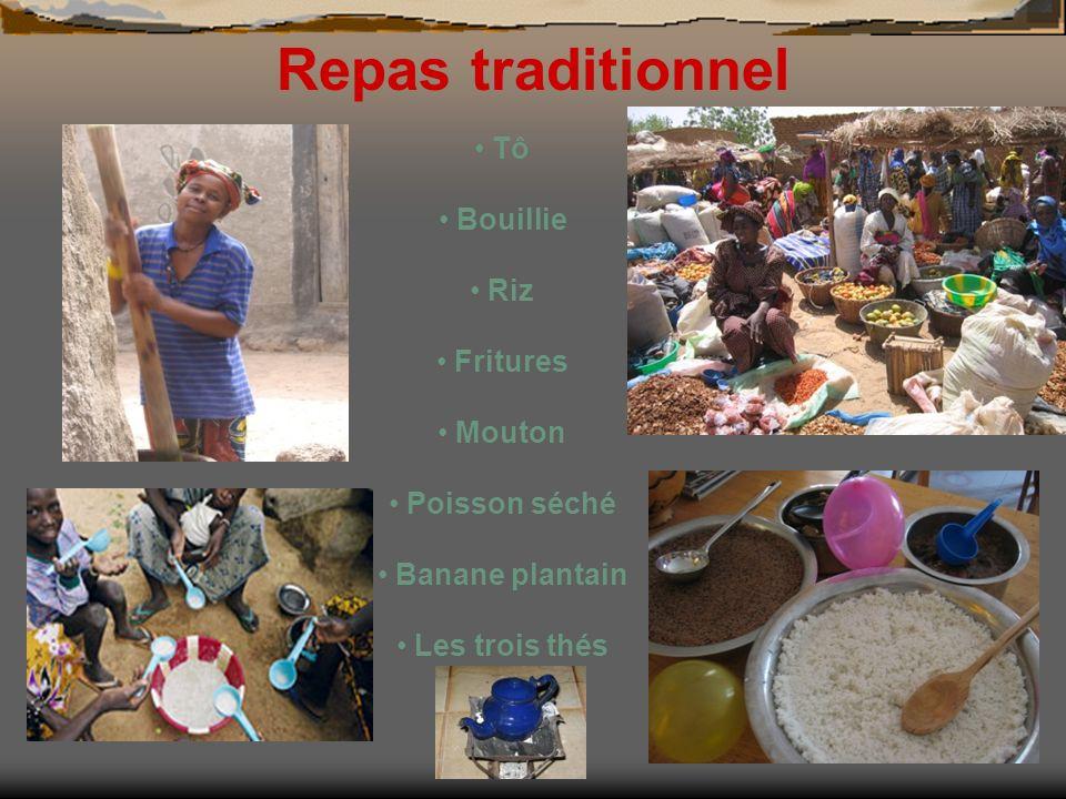Repas traditionnel Tô Bouillie Riz Fritures Mouton Poisson séché