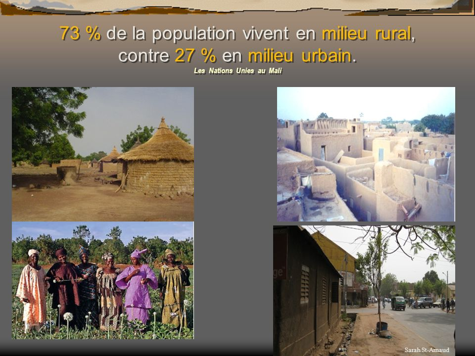 73 % de la population vivent en milieu rural, contre 27 % en milieu urbain. Les Nations Unies au Mali