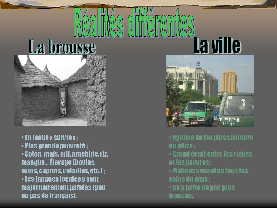 La ville La brousse Réalités différentes En mode « survie » ;