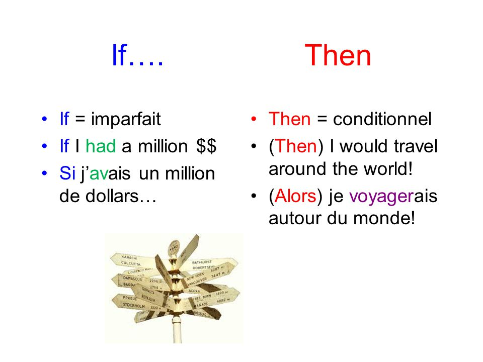 If…. Then If = imparfait If I had a million $$