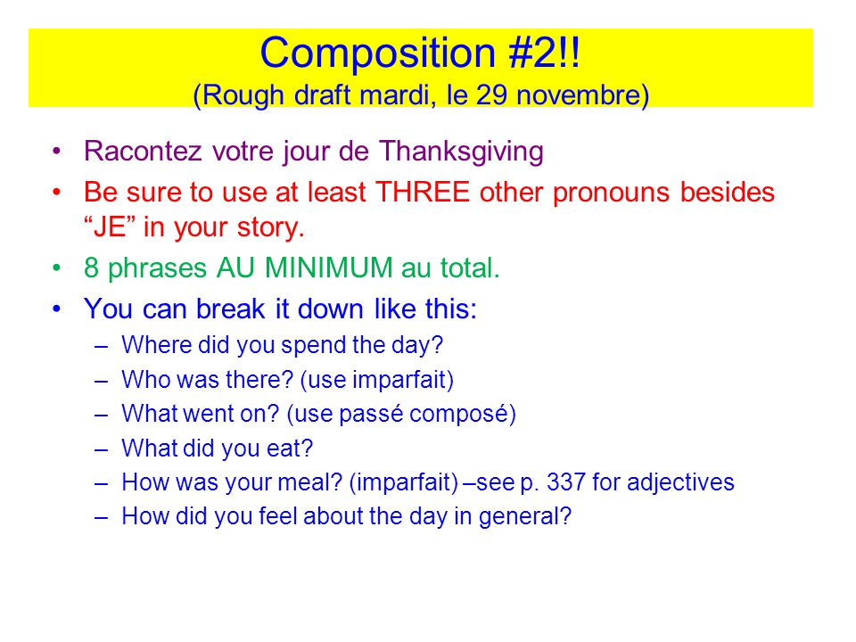 Composition #2!! (Rough draft mardi, le 29 novembre)