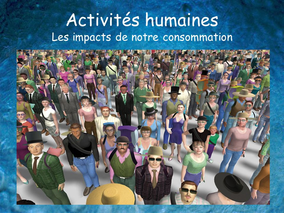 Activités humaines Les impacts de notre consommation