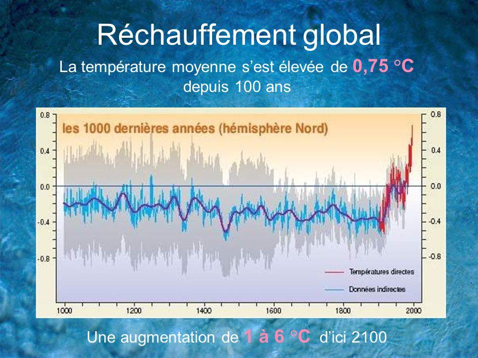 Réchauffement globalLa température moyenne s'est élevée de 0,75 °C depuis 100 ans.