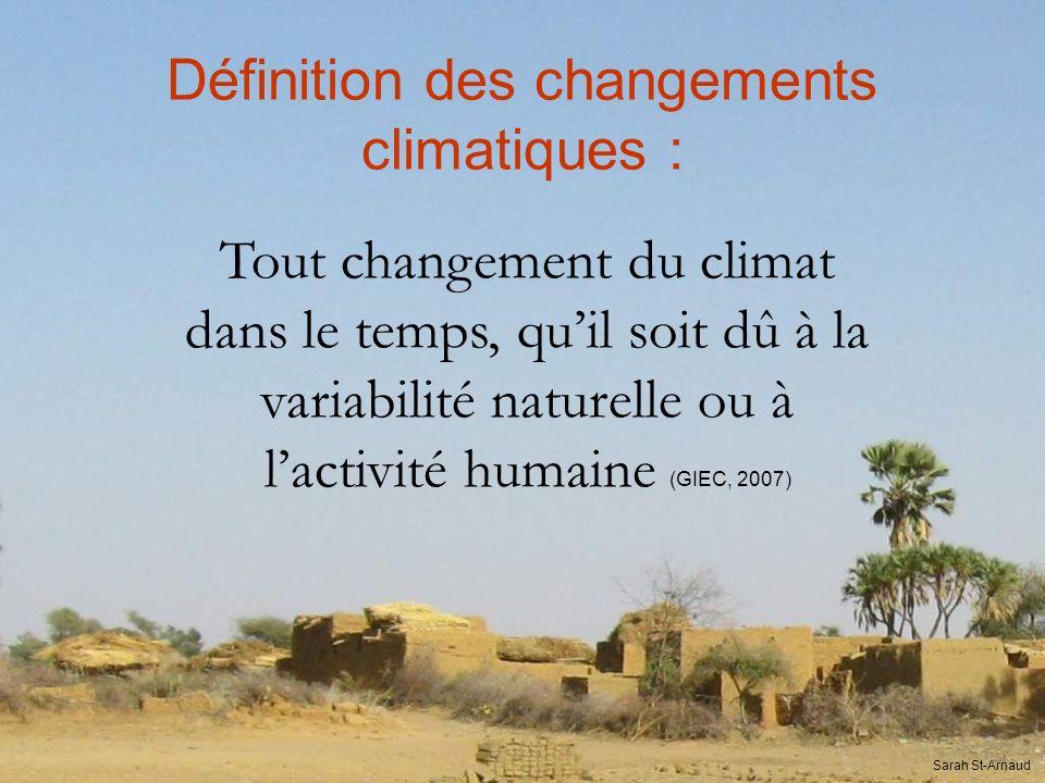 Définition des changements climatiques :