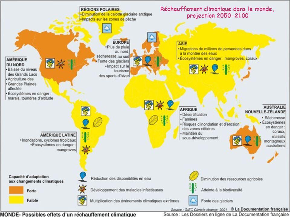 Réchauffement climatique dans le monde, projection 2050-2100