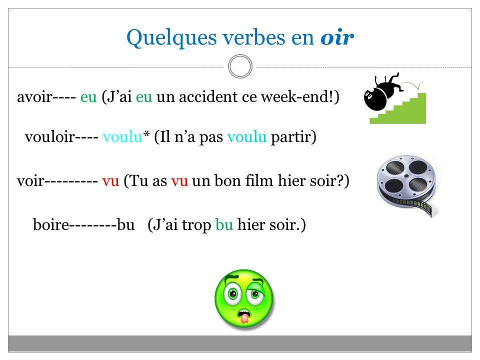 Quelques verbes en oir avoir---- eu (J'ai eu un accident ce week-end!)