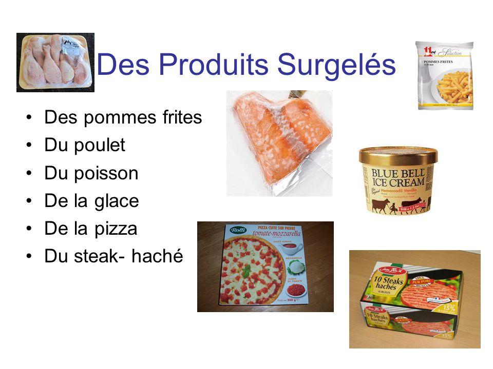 Des Produits Surgelés Des pommes frites Du poulet Du poisson