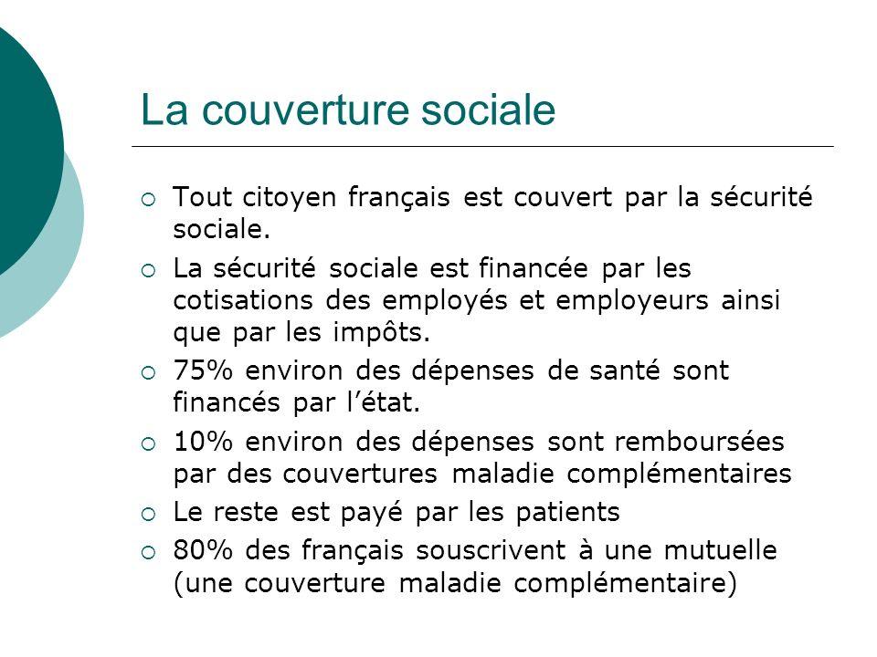 La couverture sociale Tout citoyen français est couvert par la sécurité sociale.