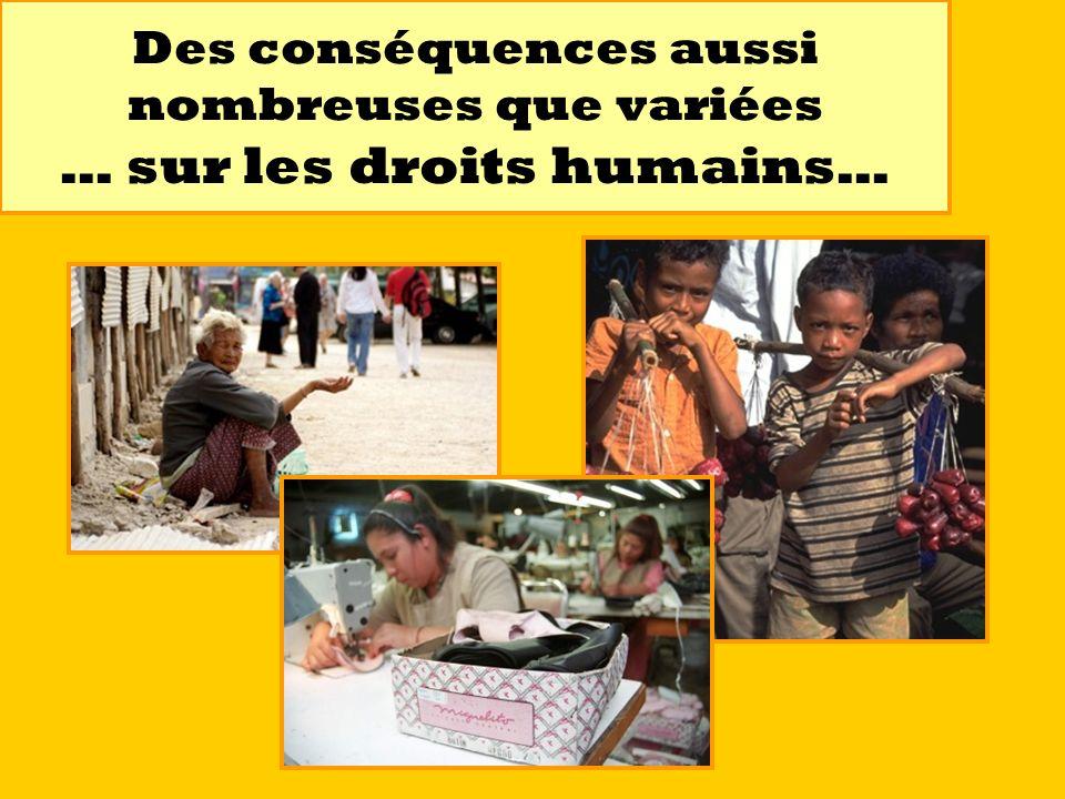 Des conséquences aussi nombreuses que variées … sur les droits humains…