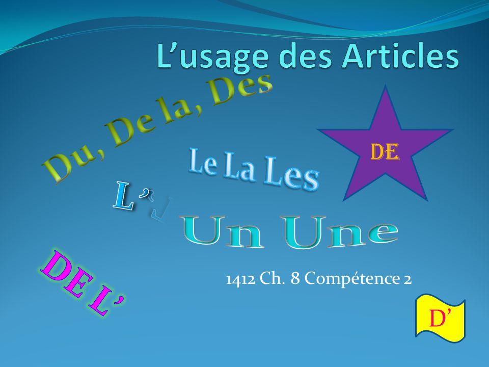 L'usage des Articles Du, De la, Des Le La Les L' Un Une DE L' DE D'