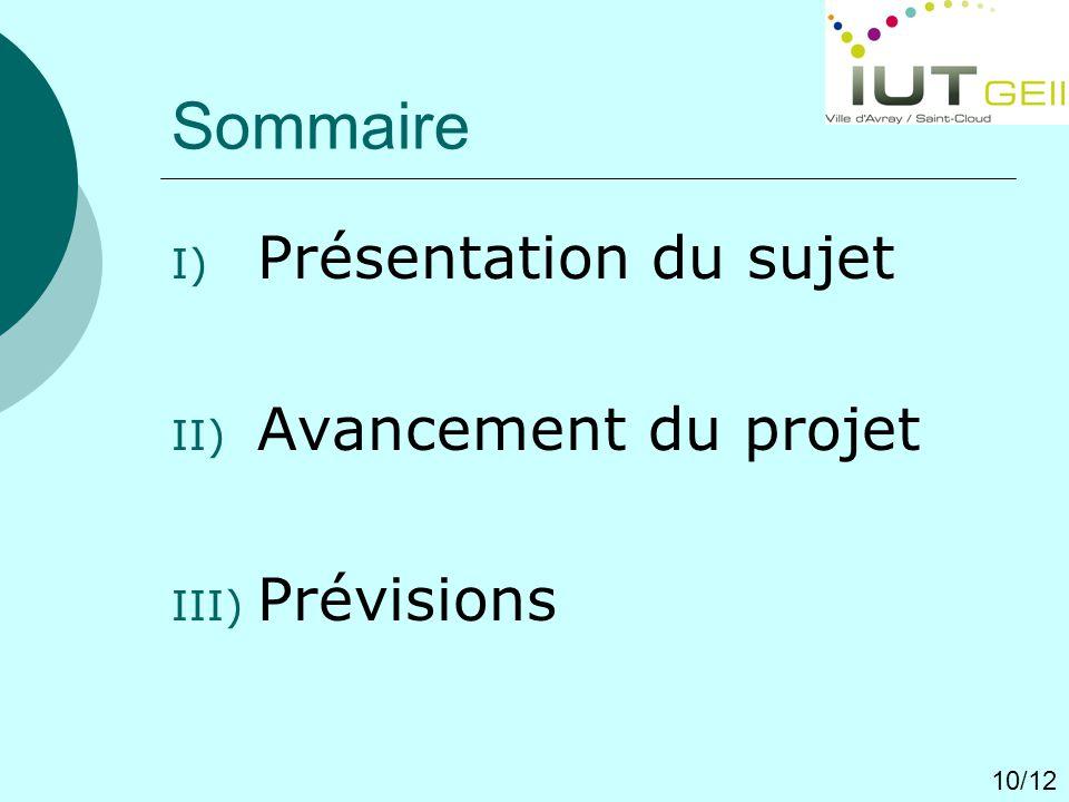 Sommaire Présentation du sujet Avancement du projet Prévisions 10/12