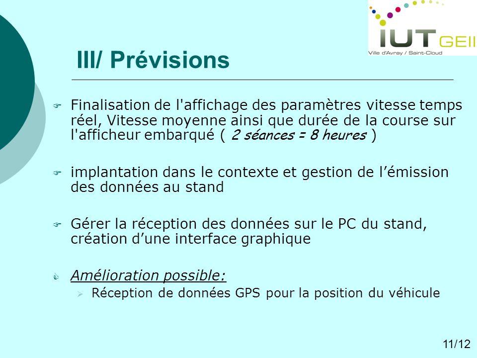 III/ Prévisions
