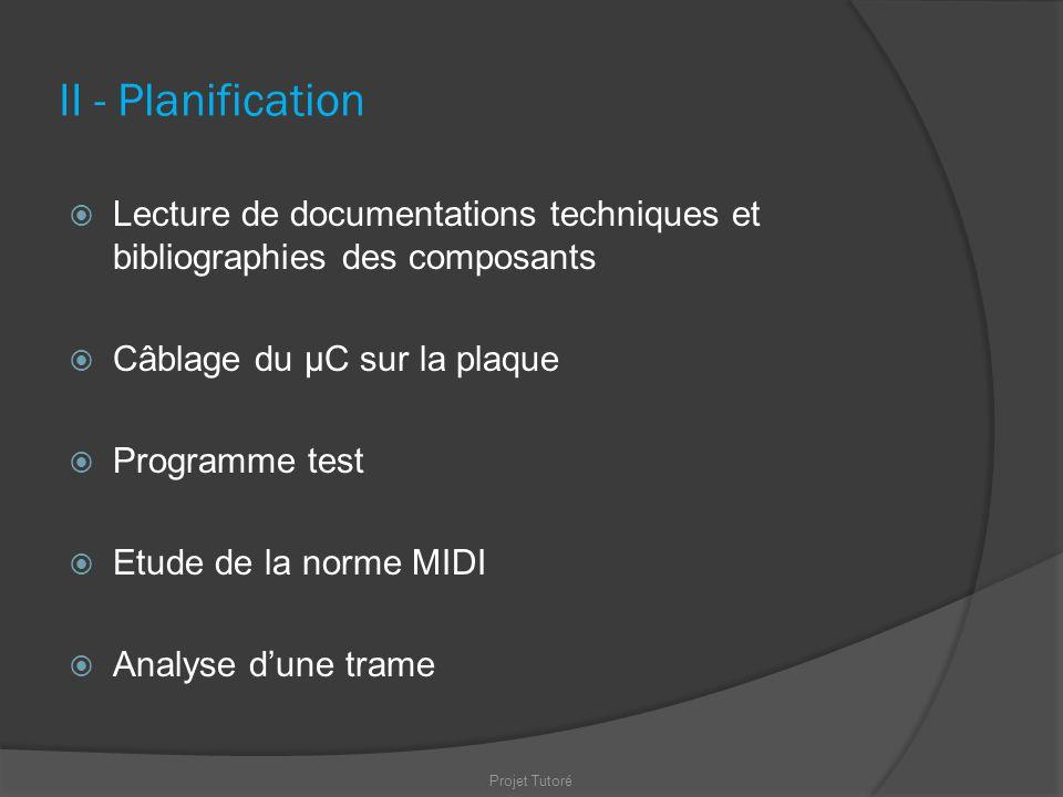 II - Planification Lecture de documentations techniques et bibliographies des composants. Câblage du µC sur la plaque.