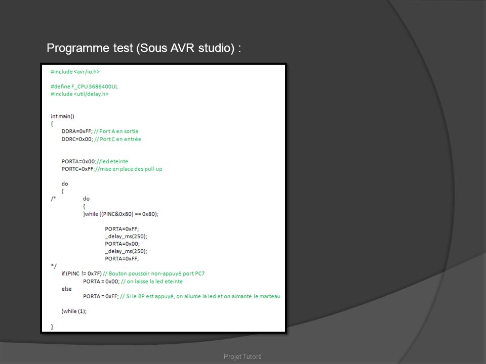 Programme test (Sous AVR studio) :