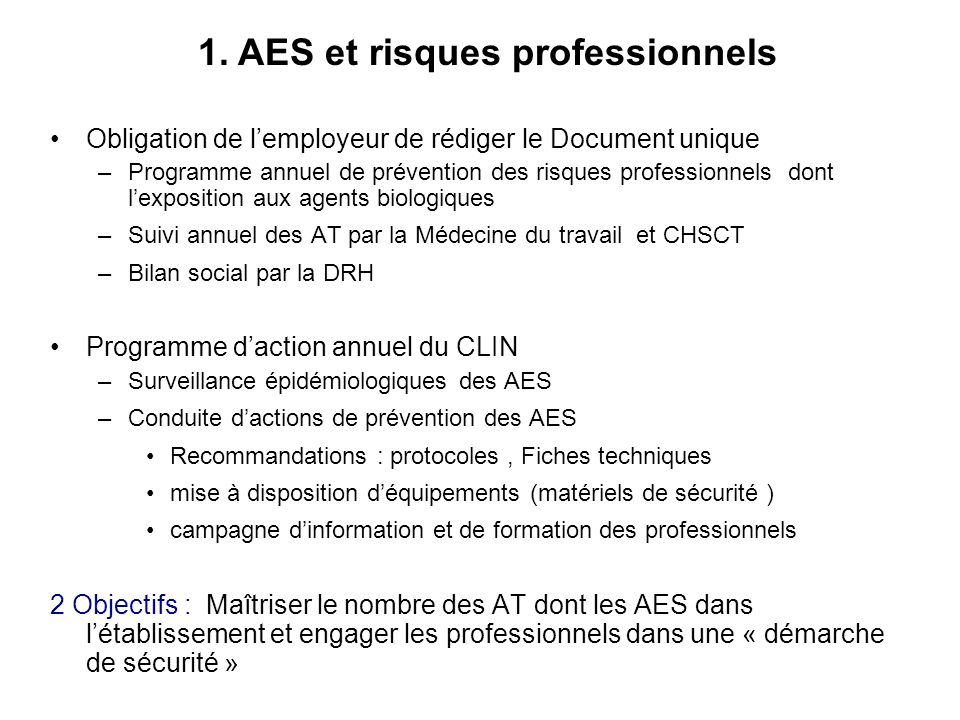 1. AES et risques professionnels