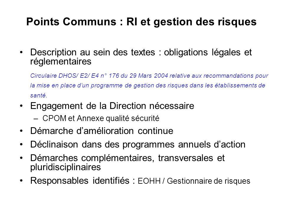 Points Communs : RI et gestion des risques