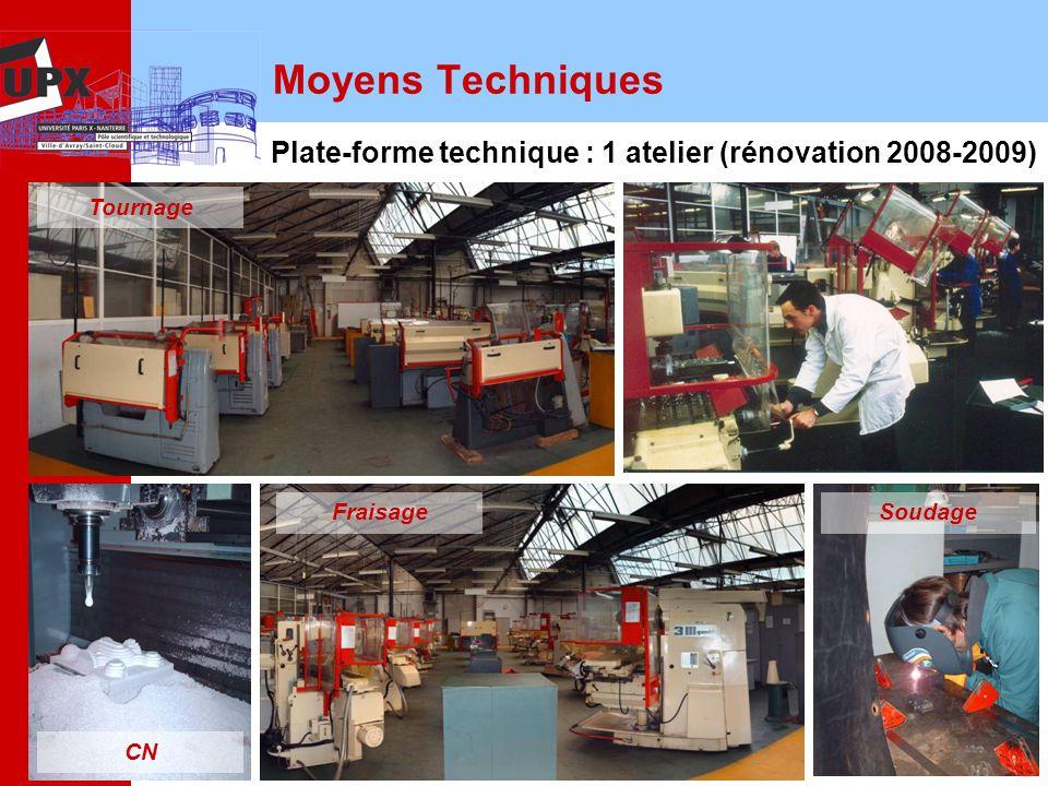 Moyens Techniques Plate-forme technique : 1 atelier (rénovation 2008-2009) Tournage. Fraisage. Soudage.