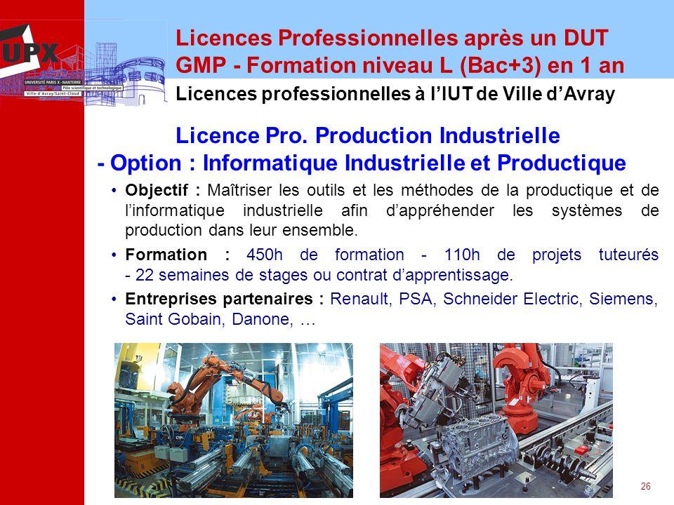 Licences Professionnelles après un DUT GMP - Formation niveau L (Bac+3) en 1 an