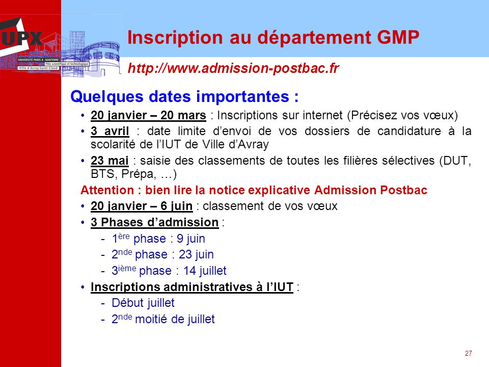 Inscription au département GMP