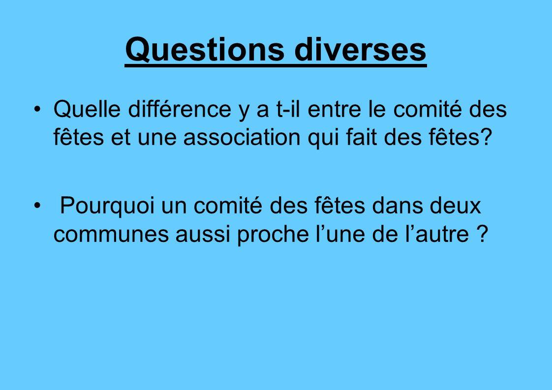 Questions diverses Quelle différence y a t-il entre le comité des fêtes et une association qui fait des fêtes