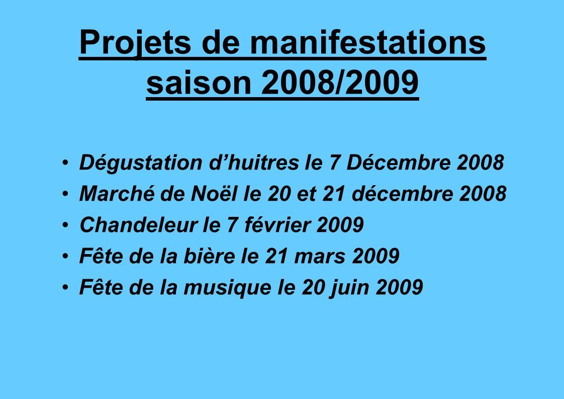 Projets de manifestations saison 2008/2009