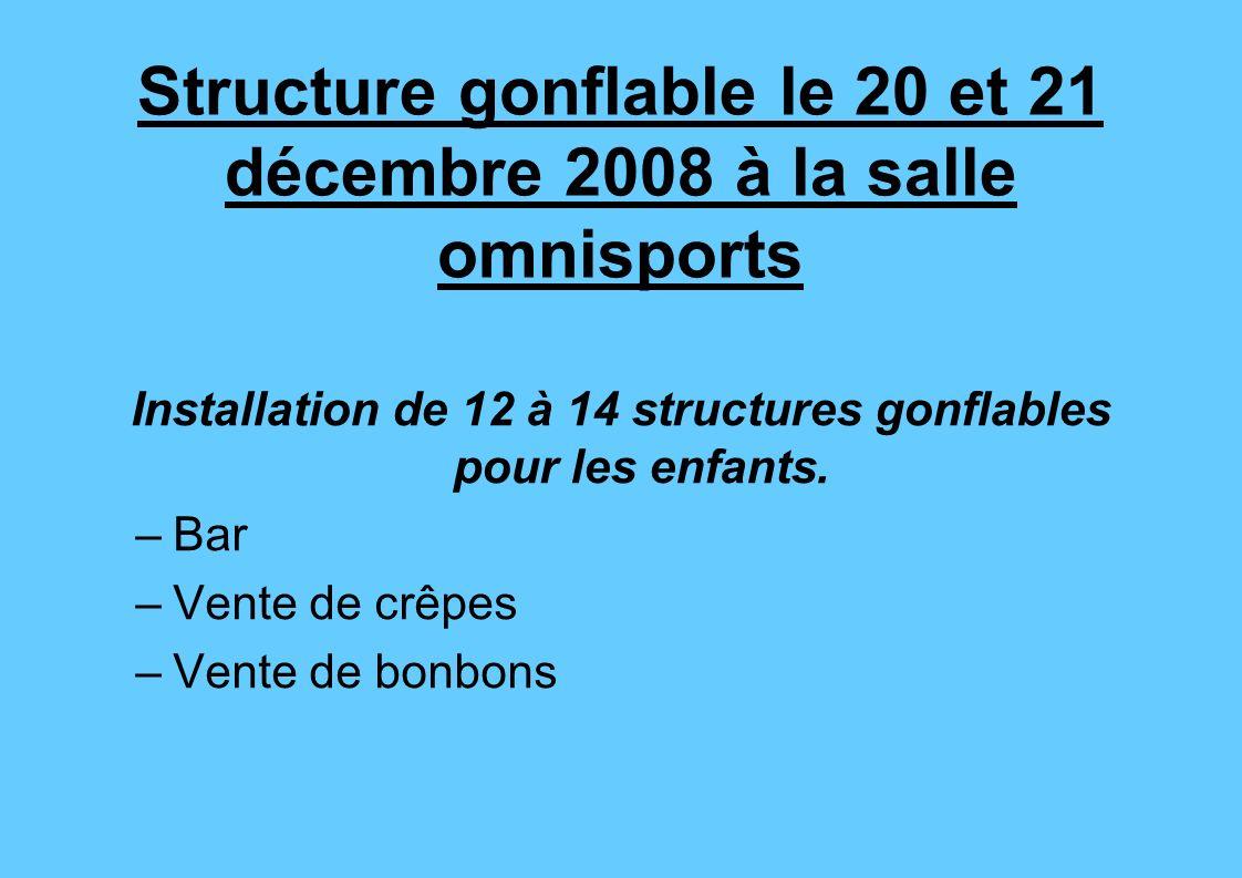 Structure gonflable le 20 et 21 décembre 2008 à la salle omnisports