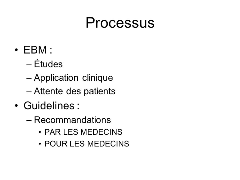 Processus EBM : Guidelines : Études Application clinique