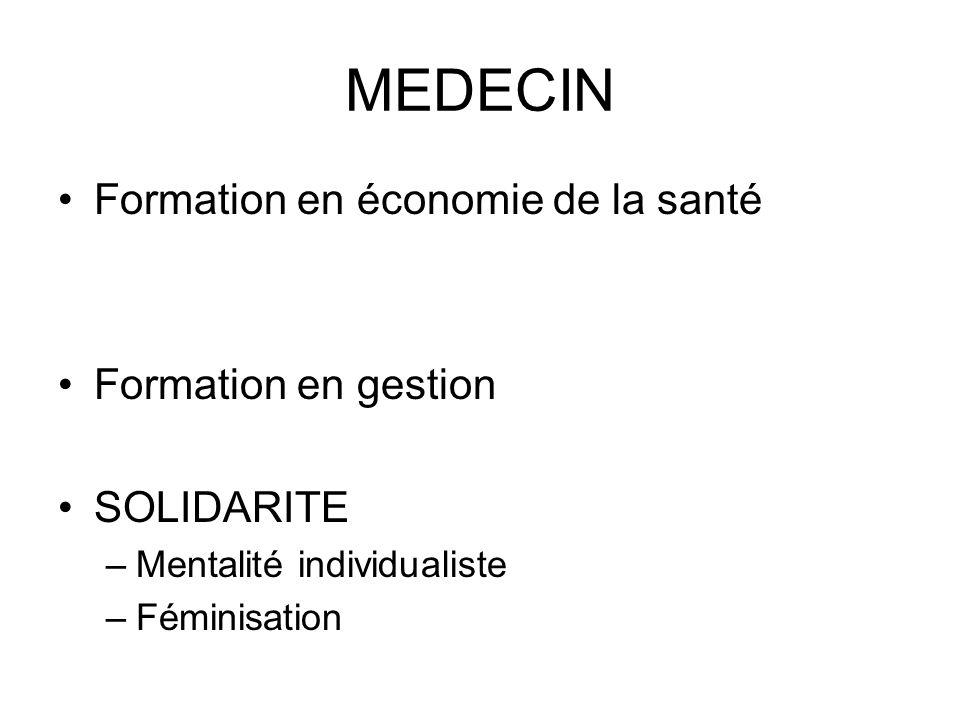 MEDECIN Formation en économie de la santé Formation en gestion