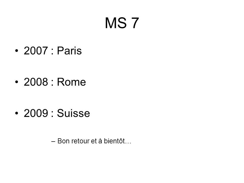 MS 7 2007 : Paris 2008 : Rome 2009 : Suisse Bon retour et à bientôt…