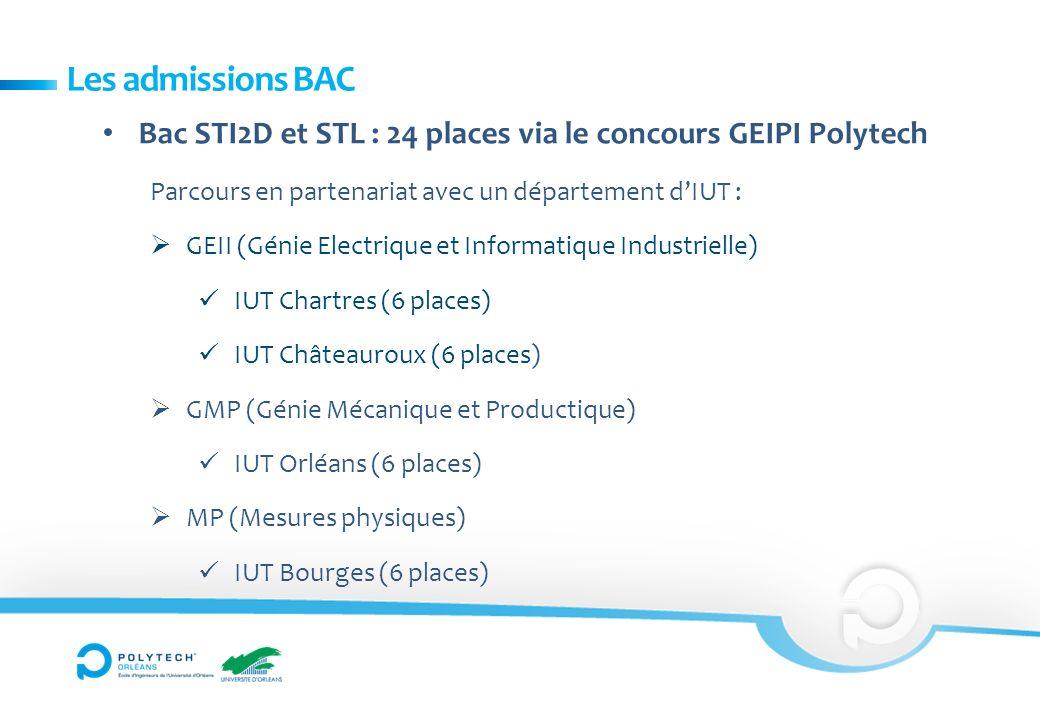Les admissions BAC Bac STI2D et STL : 24 places via le concours GEIPI Polytech. Parcours en partenariat avec un département d'IUT :